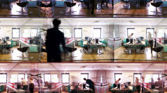 Time lapse of attractive fashionable young professionals at work in busy office - stock footage