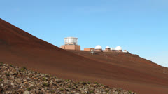 Astronomy Telescopes On Top of Haleakala Crater Maui Stock Footage