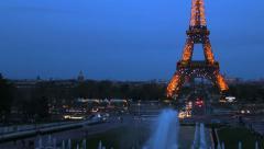Paris, France. Eiffel Tower. Timelapse Illuminated. Traffic, cars. Sunset 2 Stock Footage