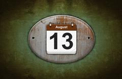 Old wooden calendar with august 13. Stock Illustration