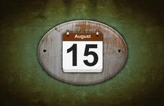 old wooden calendar with august 15. - stock illustration