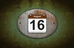 old wooden calendar with august 16. - stock illustration