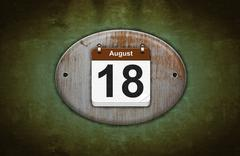 old wooden calendar with august 18. - stock illustration