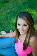 Beautiful multi-racial teenage girl in the nature. Stock Photos