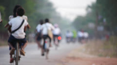 Cambodia morning commute Stock Footage