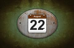 Stock Illustration of old wooden calendar with august 22.
