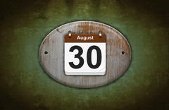 Old wooden calendar with august 30. Stock Illustration