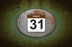 Old wooden calendar with august 31. Stock Illustration