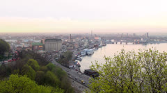 Urban view of Kiev riverport with a bird's-eye view. Ukraine. Stock Footage