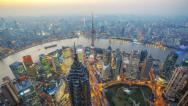 Stock Video Footage of Aerial View of Shanghai China, Day to Night(4K timelapse)