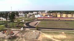Slavutych school stadium. Stock Footage