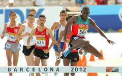 Competitors of 3000m steeplechase - stock photo