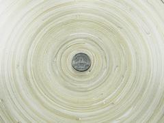 Thai Five Baht Coin on Bamboo Circular Tray Stock Photos