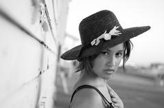 portrait of beautiful multi-racial girl outdoor - stock photo