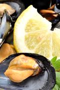 Stock Photo of ref mussels with lemon