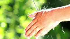 Child washes his hands, hygiene, health Stock Footage