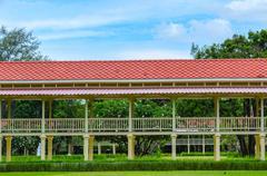elevated airy walkway of mrigadayavan palace, thailand - stock photo