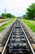Railway in the contryside of Thailand - stock photo
