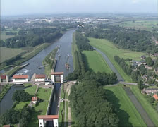 Aerial view of Twentekanaal - Canal Lock at Eefde - stock footage