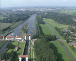 Stock Video Footage of Aerial view of Twentekanaal - Canal Lock at Eefde