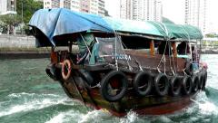 Walk on a sampan on the Hong Kong Bay Aberdeen. Stock Footage