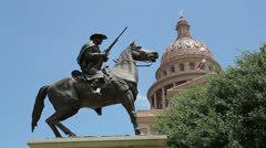 texas state capitol building and terrys texas rangers memorial, austin, usa - stock footage