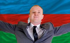 Happy businessman because of profitable investment in azerbaijan Stock Photos