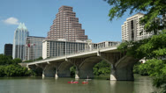 Stock Video Footage of canoes on lady bird lake, austin skyline, texas, usa