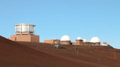 Telescopes On Top of Haleakala Crater Maui Stock Footage