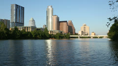 Late light on lady bird lake with austin skyline in background, texas, usa Stock Footage