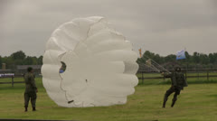 Soldier with parachute Stock Footage