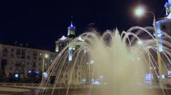 Fountain at main street of Zaporizhzhya, Ukraine at night. Timelapse. Stock Footage