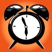 Alarm clock on the orange background Stock Illustration