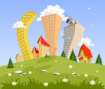 Stock Illustration of abstract vector city on the hill. summer