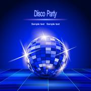 Stock Illustration of blue party background, disco ball