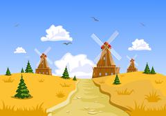 landscape with windmills in the background - stock illustration