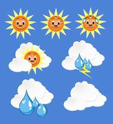 weather icons with blue background - stock illustration