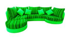 green sofa isolated with clipping path - stock photo