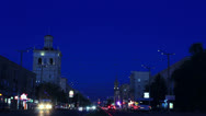 Stock Video Footage of Central avenue of Zaporizhzhya at evening with flare up lanterns timelapse