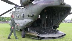 Final checks before chinook flight Stock Footage