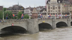 High flood waters on the Rhine River Stock Footage