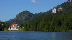 Alpsee overlooking neuschwanstein castle Stock Footage