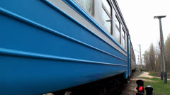 """Electric Train travels along the route """"Slavutich - the Chernobyl NPP"""". Stock Footage"""