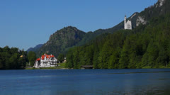 Stock Video Footage of alpsee overlooking neuschwanstein castle