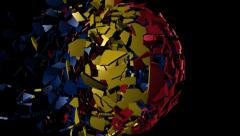 Chad flag sphere combining and breaking apart animation Stock Footage