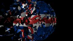 Iceland flag sphere combining and breaking apart animation Stock Footage
