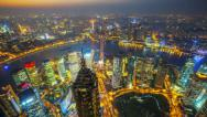 Stock Video Footage of Aerial View of Shanghai China, at Night (4K timelapse)