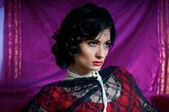 Portrait of beautiful caucasian model studio Stock Photos