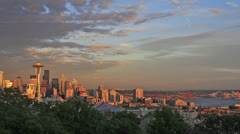 Stock Video Footage of Seattle Washington Cityscape with Mount Rainier Timelapse at Sunset