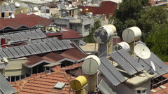 Stock Video Footage of Sun Collectors and Water Tank in Turkey 1
